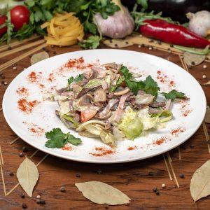 Ассорти салат с языком и ветчиной